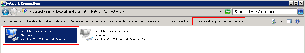 Under network connections, select your adaptor and select Change settings of the connection.