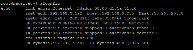 This is an example of ifconfig that shows the IP address of 192.168.0.192