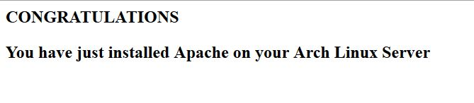 This is the test page created to verify Apache was installed correctly in Arch Linux