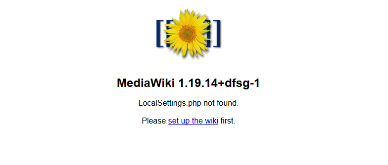 MediaWiki initial setup page