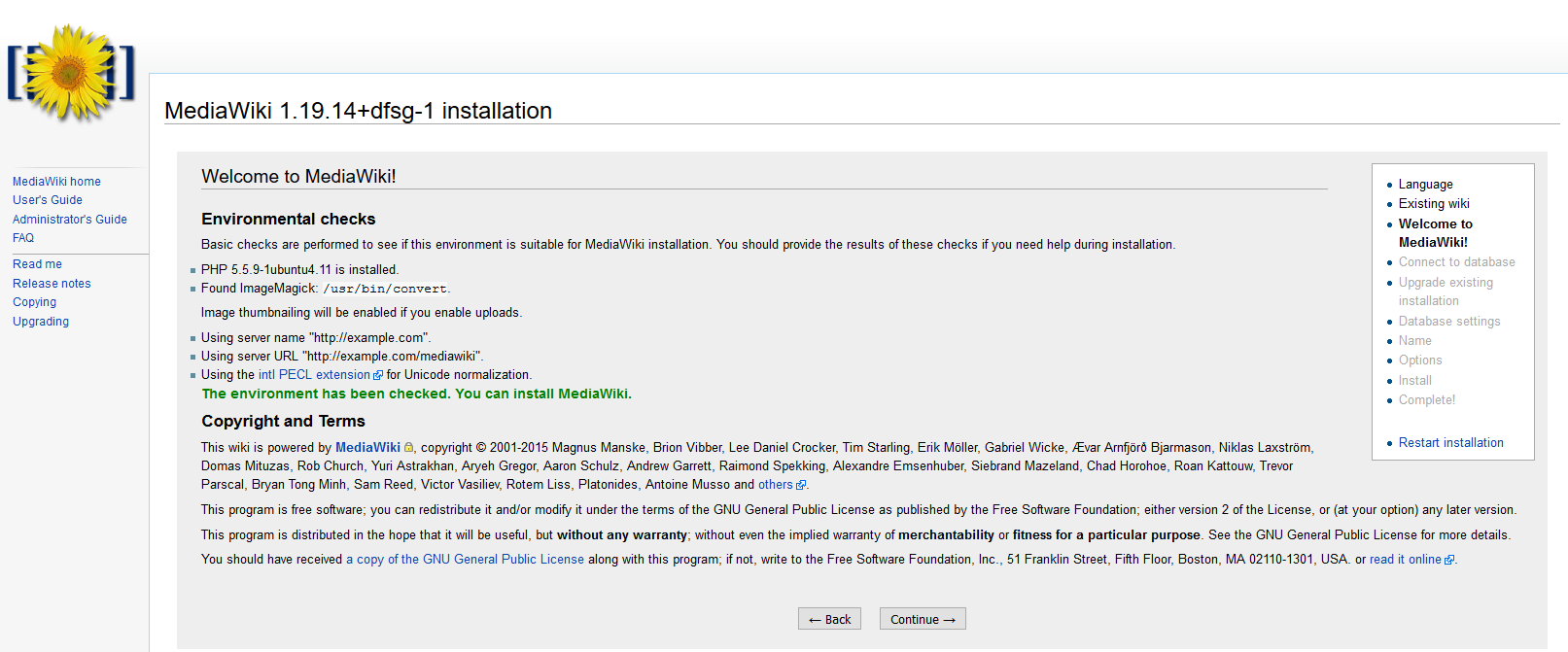 MediaWiki installation: environment checks complete
