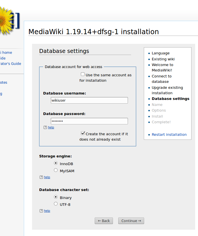 MediaWiki installation: new database settings