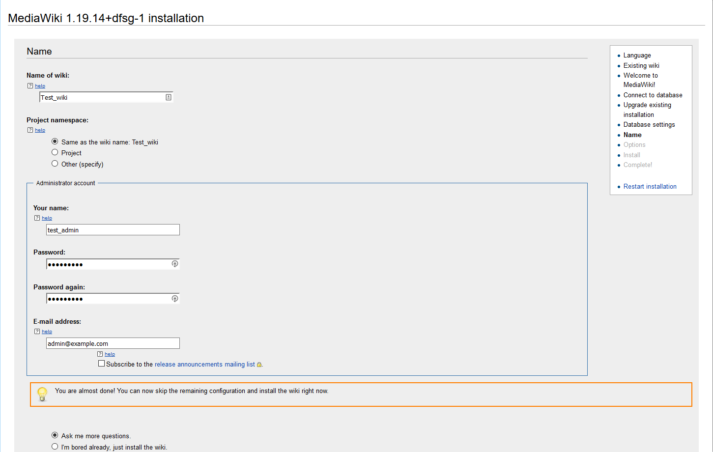 MediaWiki installation: administration settings