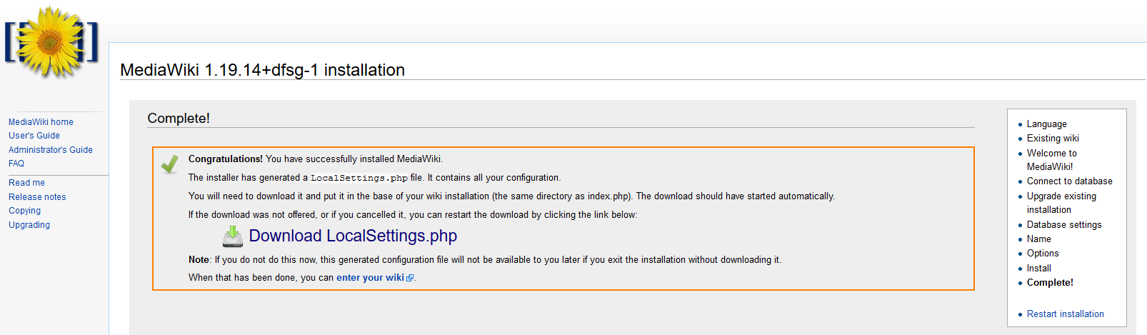 MediaWiki installation: LocalSettings.php file download