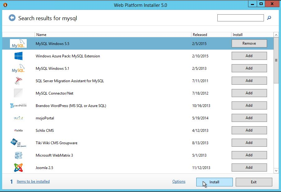 Use Web Platform installer 5.0 to search for and add MySQL