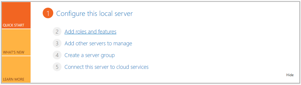 In server manager select Add roles and features