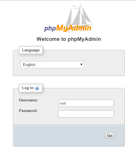 An example of the phpMyAdmin login page