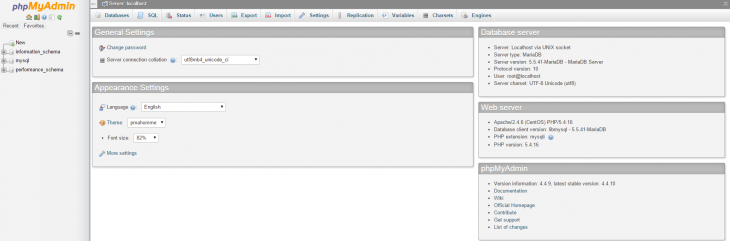 An example of the phpMyAdmin default page.