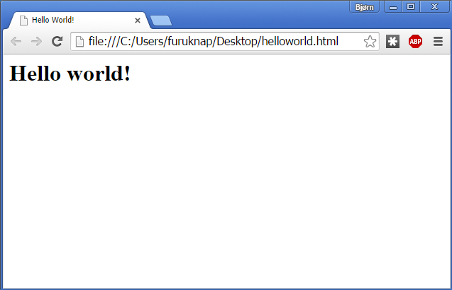 Figure 2: Hello World web page