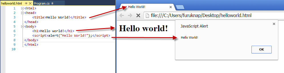 Figure 3: JavaScript alert on Hello World page