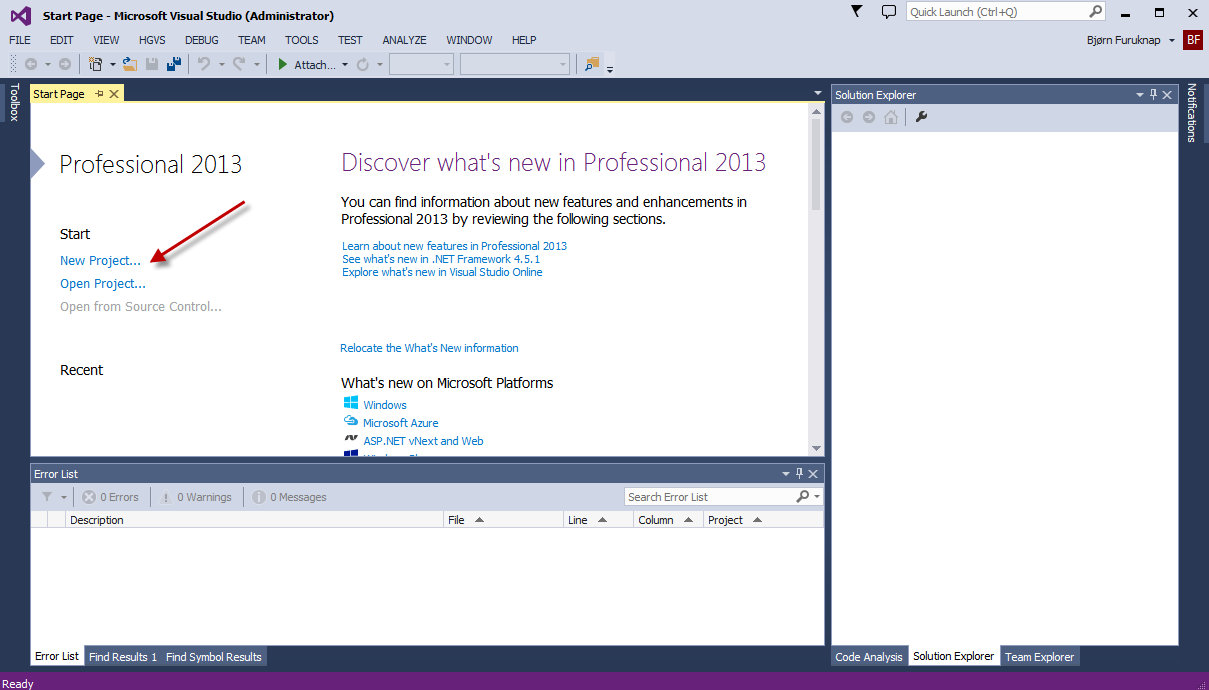 Figure 1: New Project Link in Visual Studio