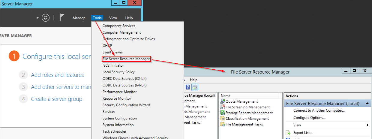 Acesss the File Server Resource Manager through Server manager Tools