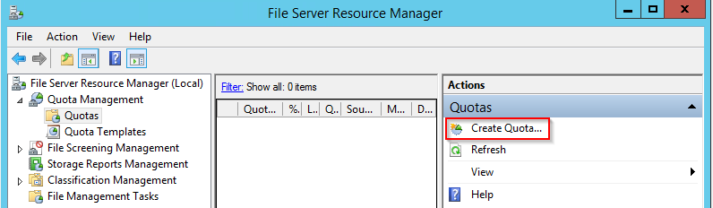 "Under File Server Resource Manager expand ""Quota Management"", select ""Create Quota"" as seen below."