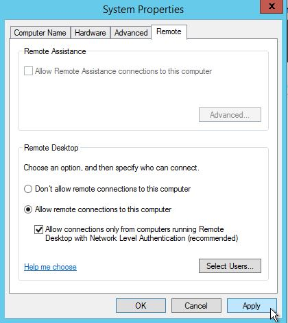 Select Allow remote connection to this computer.