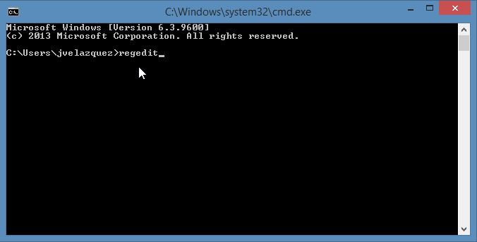 This is the regedit command in Windows Server 2012