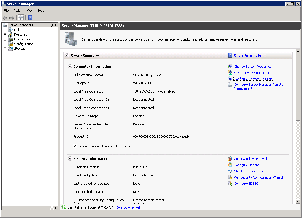 How to Access Remote Desktop Configuration in Server Manager