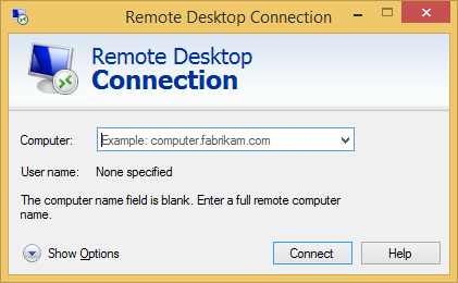 Enter your hosts name or IP into Remote desktop Connection