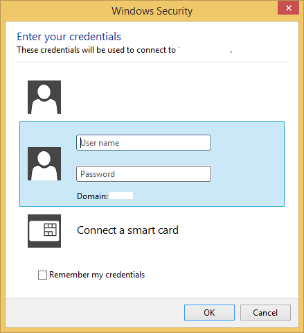Enter your remote hosts username and password.