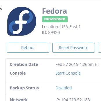 Select Reset Password from your servers menu