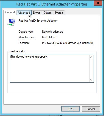 Click the Advanced tab in the Adapter settings in Windows Server 2012