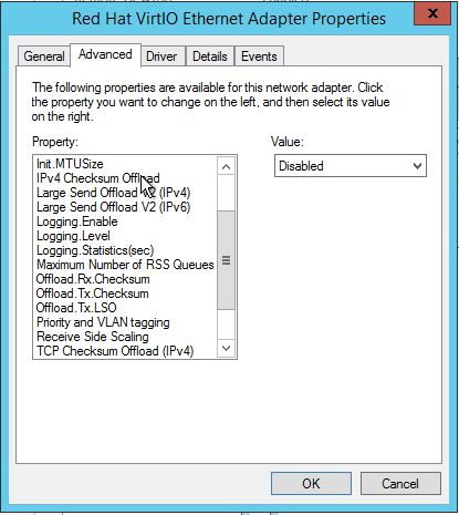Disabled Ethernet Adapter settings in Windows Server 2012