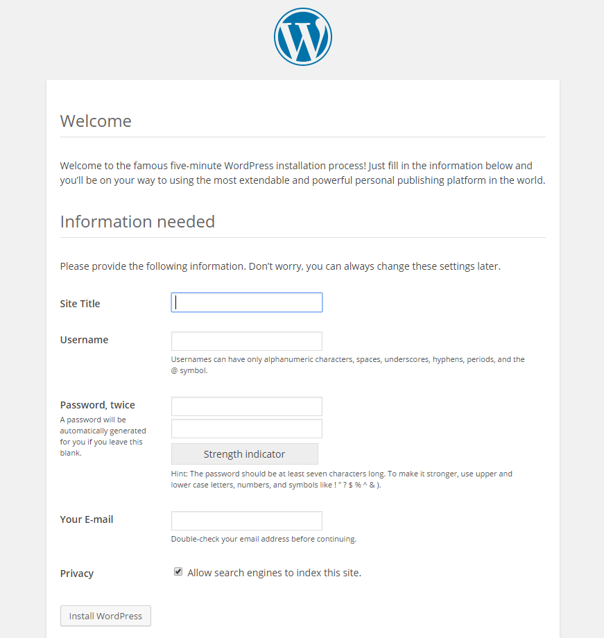 Follow the WordPress web installation.