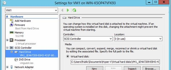 This is the virtual Hard Drive settings while Expanding a VM Hard Disk in Hyper-V 2012