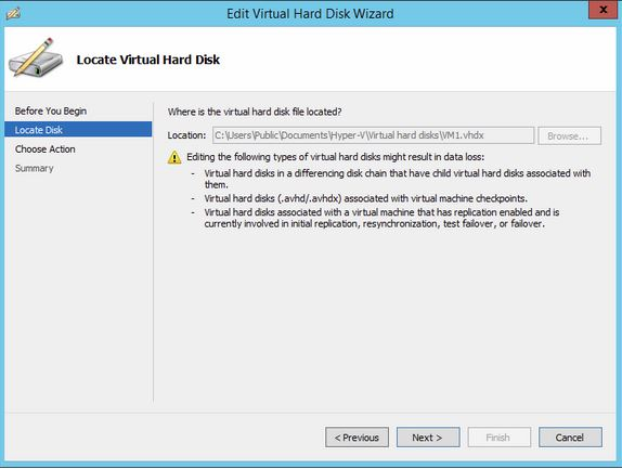 This is the virtual Hard Drive Wizard screen while Expanding a VM Hard Disk in Hyper-V 2012