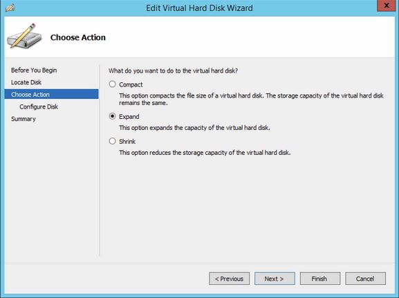 Selecting the Expand option Wizard screen while on the Actions options to Expand a VM Hard Disk in Hyper-V 2012