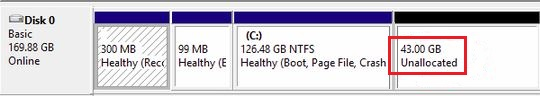 This is the output of the expanded size as Unallocated space while Expanding a VM Hard Disk in Hyper-V 2012