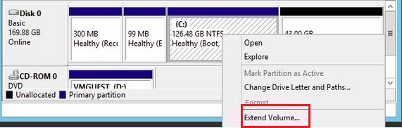 Select the Extend option while Expanding a VM Hard Disk in Hyper-V 2012