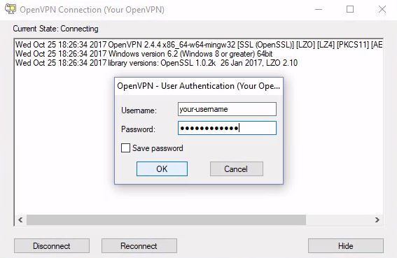 Login to OpenVPN with your username and password