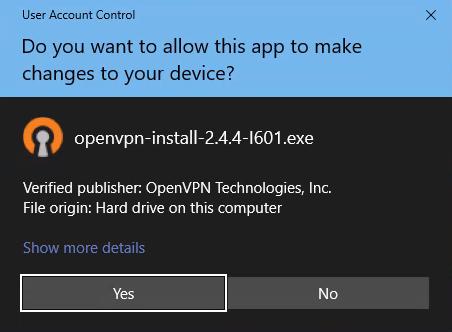 Allow OpenVPN Installer to run