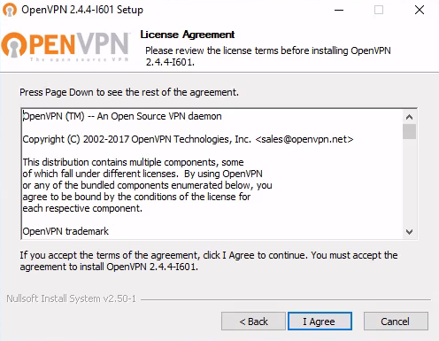 Agree to the license in the OpenVPN installer