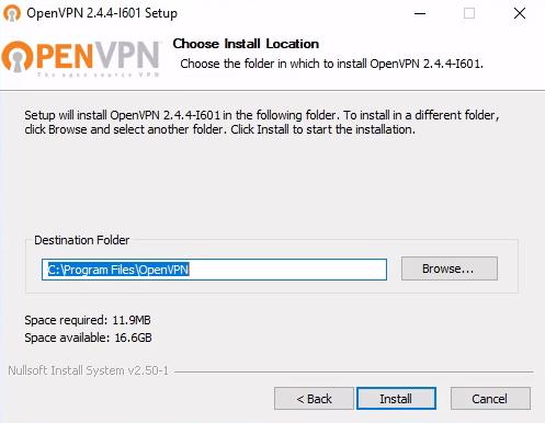 OpenVPN Select Installation Location