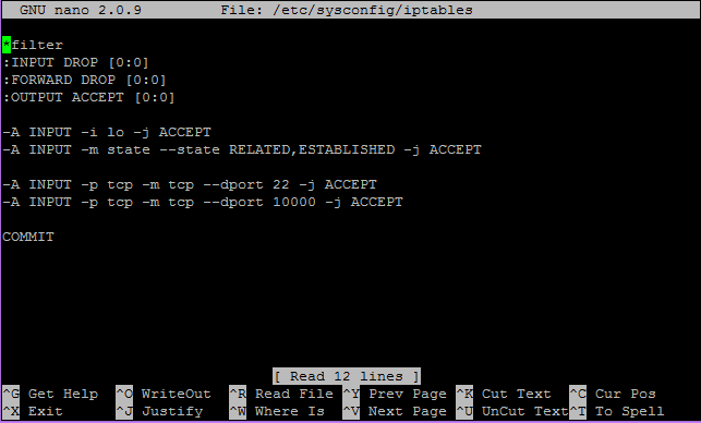 An example of the IPtables rules that we are adding