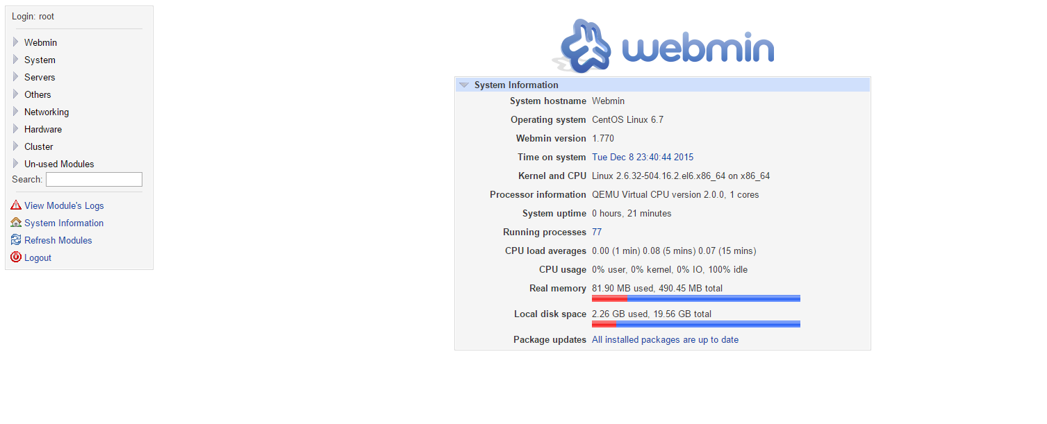 An example of the Webmin Webpage