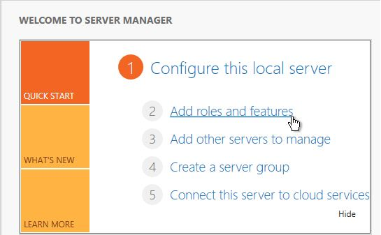 Select Add roles and features from Server Manager