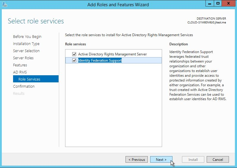 Under AD RMS Role Services select Active Directory Rights Management Server and Identity Federation Support.