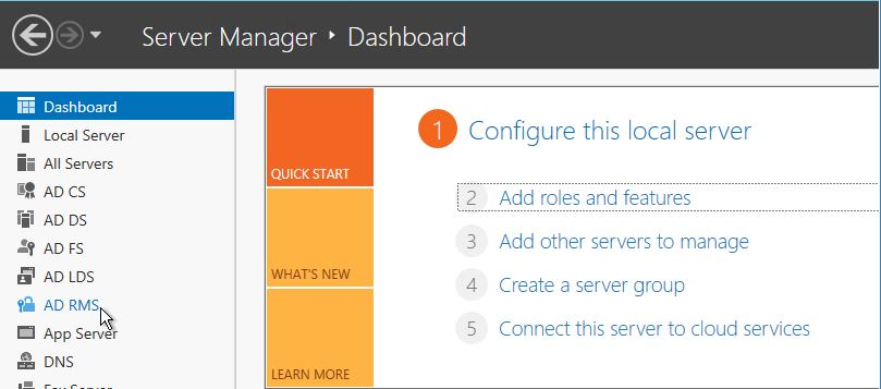 AD RMS should now be visible in your server manager dashboard.