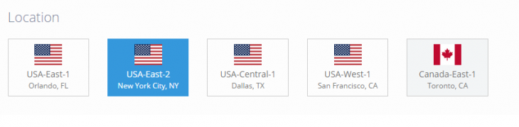 Select the location you want your server to be at.