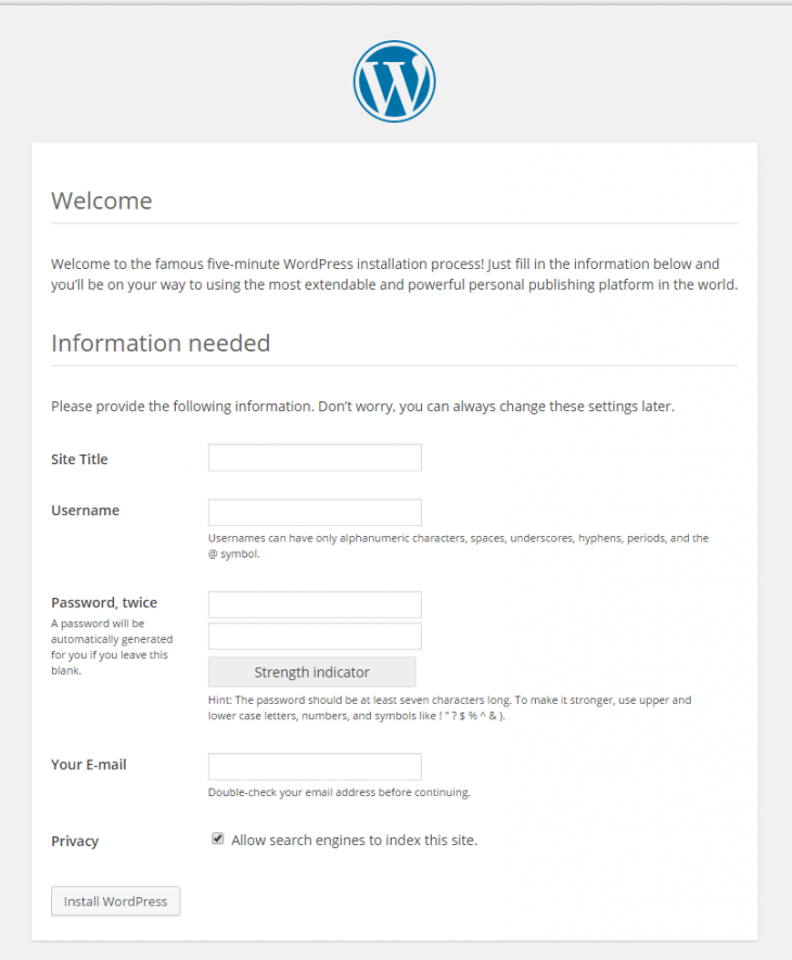 An example of the WordPress web installation
