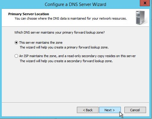 Selecting a Primary Server location in Windows Server 2012