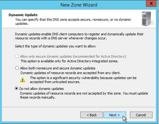 Select the do not allow Dynamic Updates option while Configuring DNS in Windows Server 2012