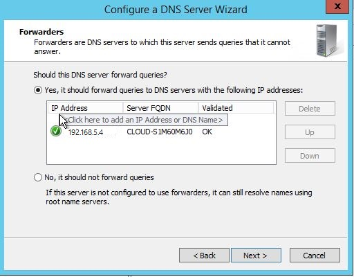 Select one of the options to configure forwarders when Configuring DNS in Windows Server 2012