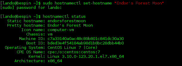 An example of the hostnamectl set-hostname and hostnamectl command