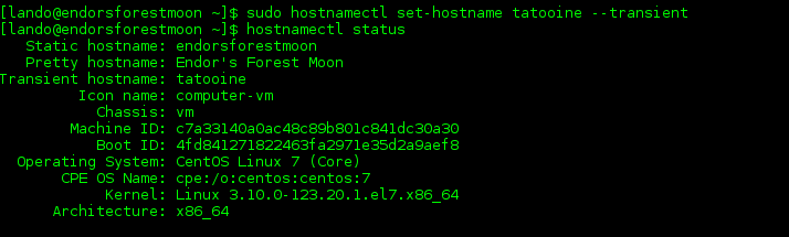 An example of the sudo hostnamectl set-hostname tatooine --transient command