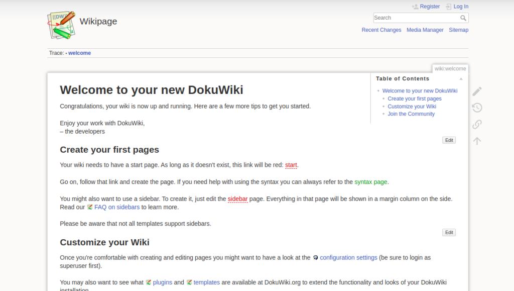 Dokuwiki welcome screen
