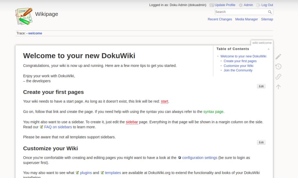 Dokuwiki Dashboard