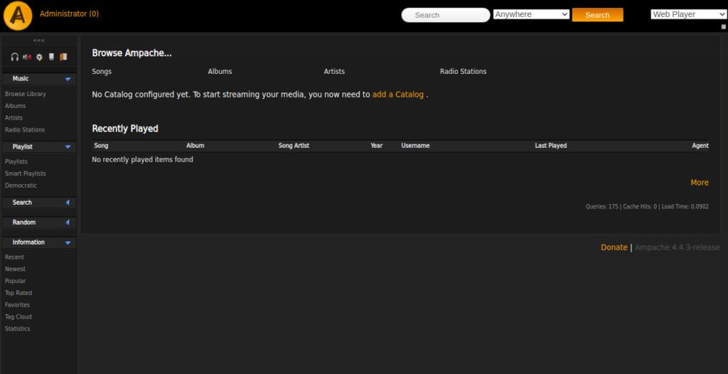 Ampache Dashboard Page